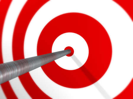 A 3D image render of an arrow, spot on, on a red target. Stock Photo