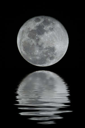 A detailed full moon. You can see all craters and details.  (with water reflection)