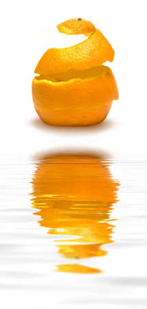 reconstructed: An orange peel being reconstructed!   (with water reflection)