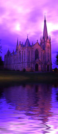 god box: The Parish Church of Saint Laurence, with a gorgeous (and original), purple sky.   (with water reflection)