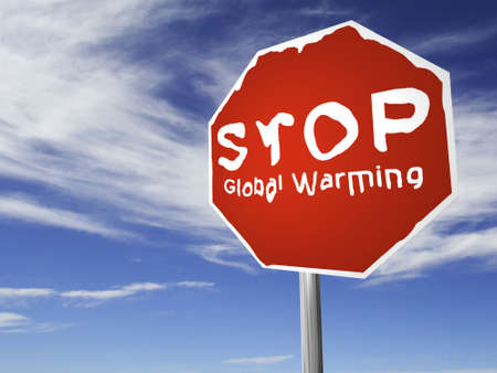 preservation: A red Stop Global Warming, melting sign, made on a 3D rendering software.
