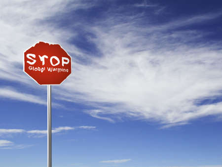stop global warming: A red Stop Global Warming, melting sign, made on a 3D rendering software.