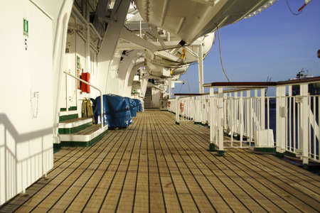 Cruise ship deck exterior.