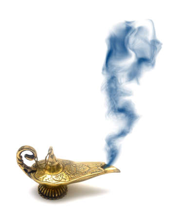 A magical genie lamp with smoke isolated on white.