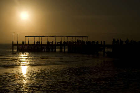 mel: A silhouette of port in Ilha do Mel (Parana - Brazil)