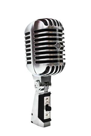 A retro, estilo años 60, metálico micrófono sobre un fondo blanco.  Foto de archivo - 3612359