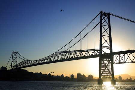 The Hercilio Luz Bridge in Florianopolis - Santa Catarina - Brazil - at sunset.