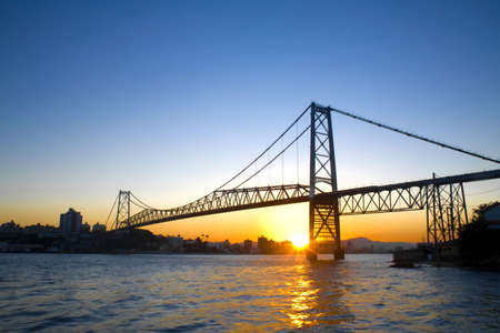 The Hercilio Luz Bridge in Florianopolis - Santa Catarina - Brazil - at sunset.