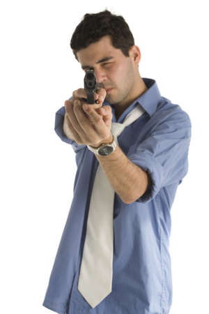 20 year old: A 20 year old latino business man with a gun and blue shirt, isolated on a white background. Stock Photo