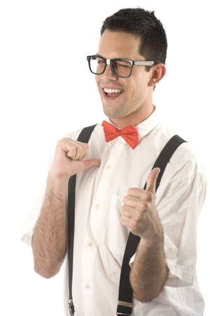 A young, caucasian nerd, with thumbs-up, isolated on a white background.