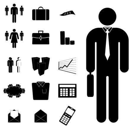 black business men: A set of business icons such as people, graphs, calculators and buildings.