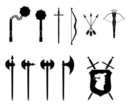 crossbow: A black and white set of medieval weapons illustration. Illustration