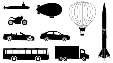 blimp: Un conjunto de veh�culos, tales como autom�viles, autobuses, camiones, submarino y Globo de aire caliente.  Vectores