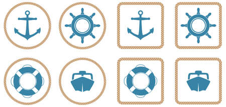 A set of 4 nautical icons or buttons with a rope outline.