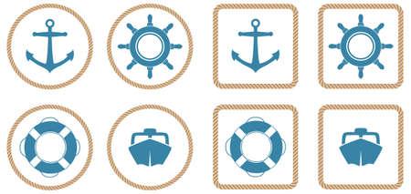 Set di 4 Icone nautici o pulsanti con un contorno di corda.