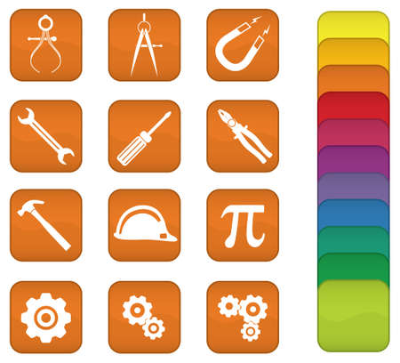 A set of engineering icons with orange background, but can be changed to any color.