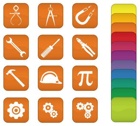 cogs: Un conjunto de iconos de ingenier�a con fondo naranja, pero puede cambiarse a cualquier color.  Vectores