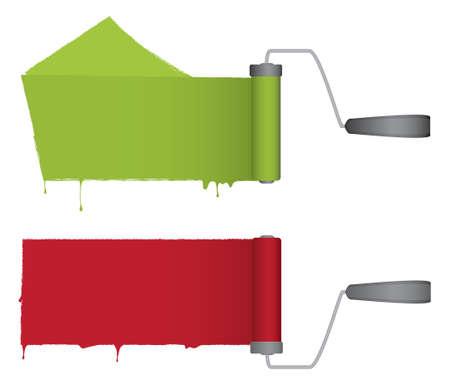 Una coppia di rulli di vernice con gocce di vernice. Rosso e verde e completamente modificabili. Vettoriali