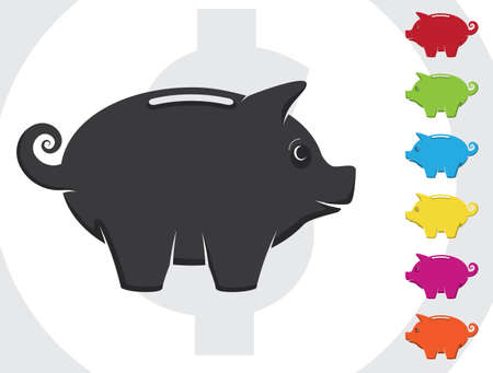A piggy bank with various colors. Totally editable.