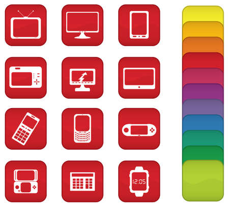 videogame: Icons or buttons with objects that contain screens, such as TV, monitor, camera, GPS, videogame, cellphone, smartphone, calculator and digital watch.