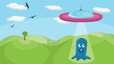 abducted: A cute little alien being abducted by a spaceship. No transparencies or gradients used in the image.