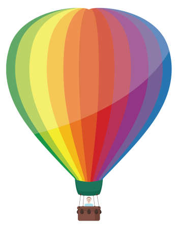 A very colorful hot air balloon with a person inside. No transparencies or gradients used.