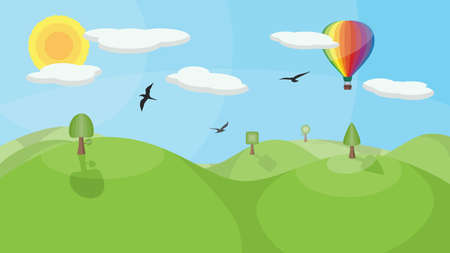 A landscape with mountains, trees, birds, clouds and a colorful hot air balloon. No transparencies or gradients used. Vector