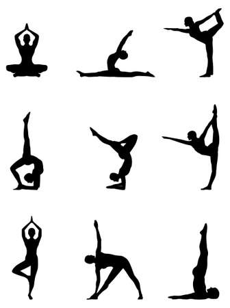 flexible woman: A set of nine yoga silhouette positions in a editable  file.