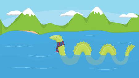 Nessie in the cold Loch Ness in Scotland.  Vector