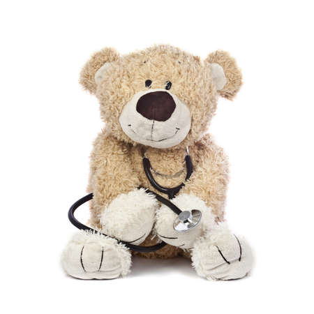 teddy: An adorable teddy bear, isolated on white, holding a stethoscope.