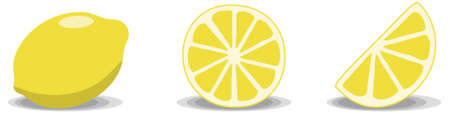 Three lemon illustrations on a white background. Full lemon, full slice and half slice.