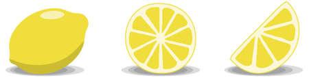 Three lemon illustrations on a white background. Full lemon, full slice and half slice.