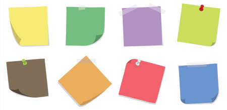 A set of 8 colorfull sticky notes with adhesive tapes and push pins on a white background. Editable vector illustration. Çizim