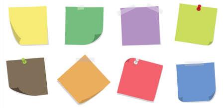 Un set di 8 colorfull sticky notes con nastri adesivi e spingere pin su uno sfondo bianco. Illustrazione vettoriale modificabile.