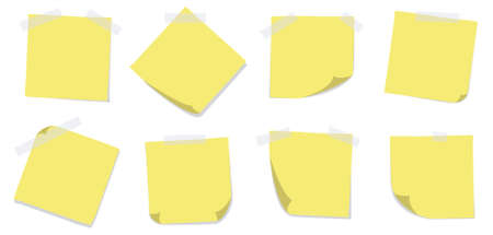 A set of 8 yellow sticky notes with adhesive tapes on a white background. Editable vector illustration. Vector