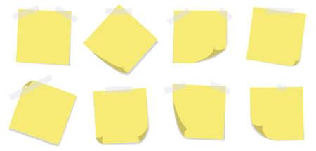 sticky notes: Een set van acht gele sticky notes met plakband op een witte achtergrond. Editable vector illustratie.
