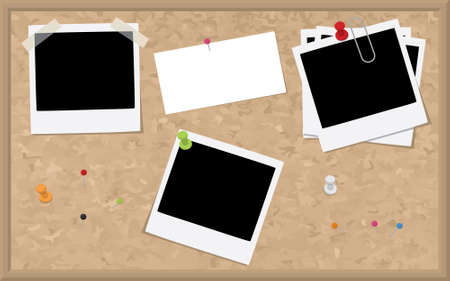 cork board: A cork board with blank design elements such as photographs and a business card.