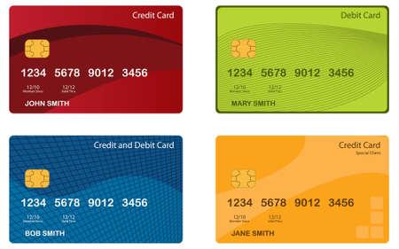 Set di 4 diverse carte di credito. File vettoriale modificabile.