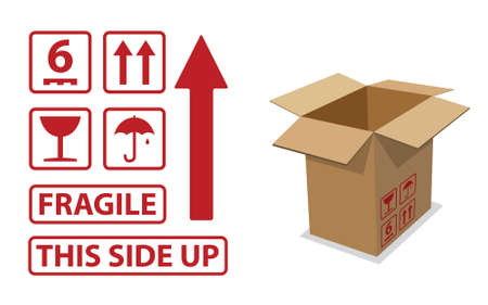 might: Different icons that might be on the side of a cardboard box. Illustration
