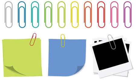 sticky notes: A set of colorful paper clips and some uses for them, like sticky notes and photographs. Stock Illustratie