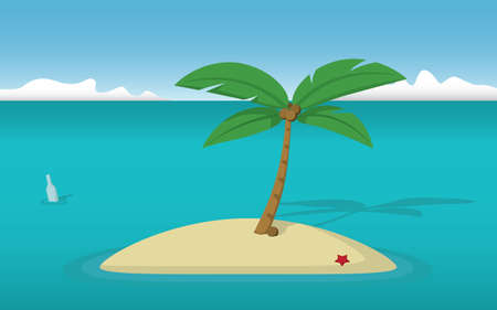 coconut tree: A deserted island with a lonely coconut tree and a bottle with a message floating by. Illustration