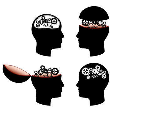 Four head with cogs representing brain. Editable vector illustration.