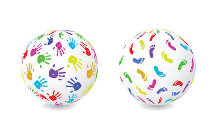 Two globes, one with colored footprints and another with handprints Vector