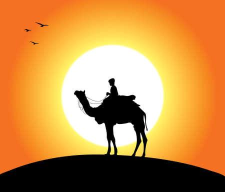 camel desert: A camel and a man at sunset. Editable vector illustration.