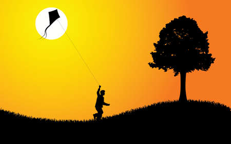 A young boy flying a kite at sunset. Editable vector illustration. Illustration
