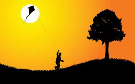 Un ragazzo di volare un aquilone al tramonto. Illustrazione vettoriale modificabile.