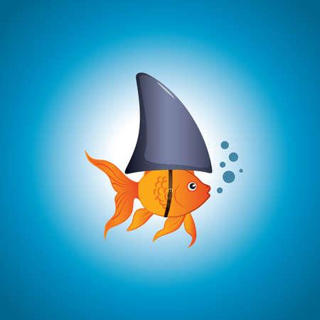 A cute little goldfish wearing a shark fin to scare predators away.