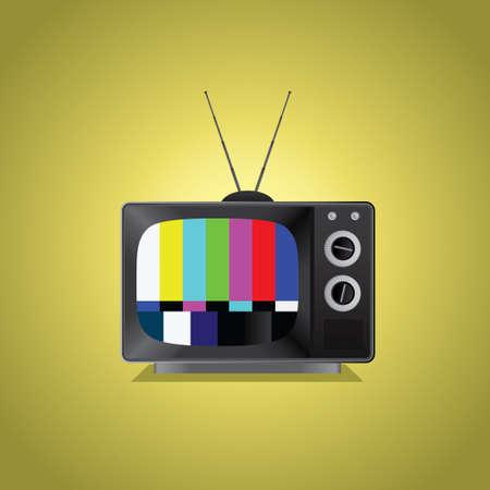 fouten: Een oude TV-toestel met niet het signaal, op een vintage achtergrond. Stock Illustratie