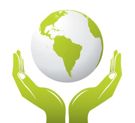 earth in hand: Un globo con manos