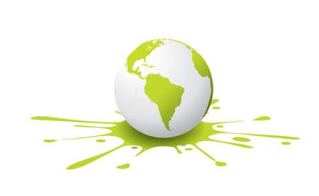 wereldbol groen: Een witte en groene globe, met verf splash Stock Illustratie